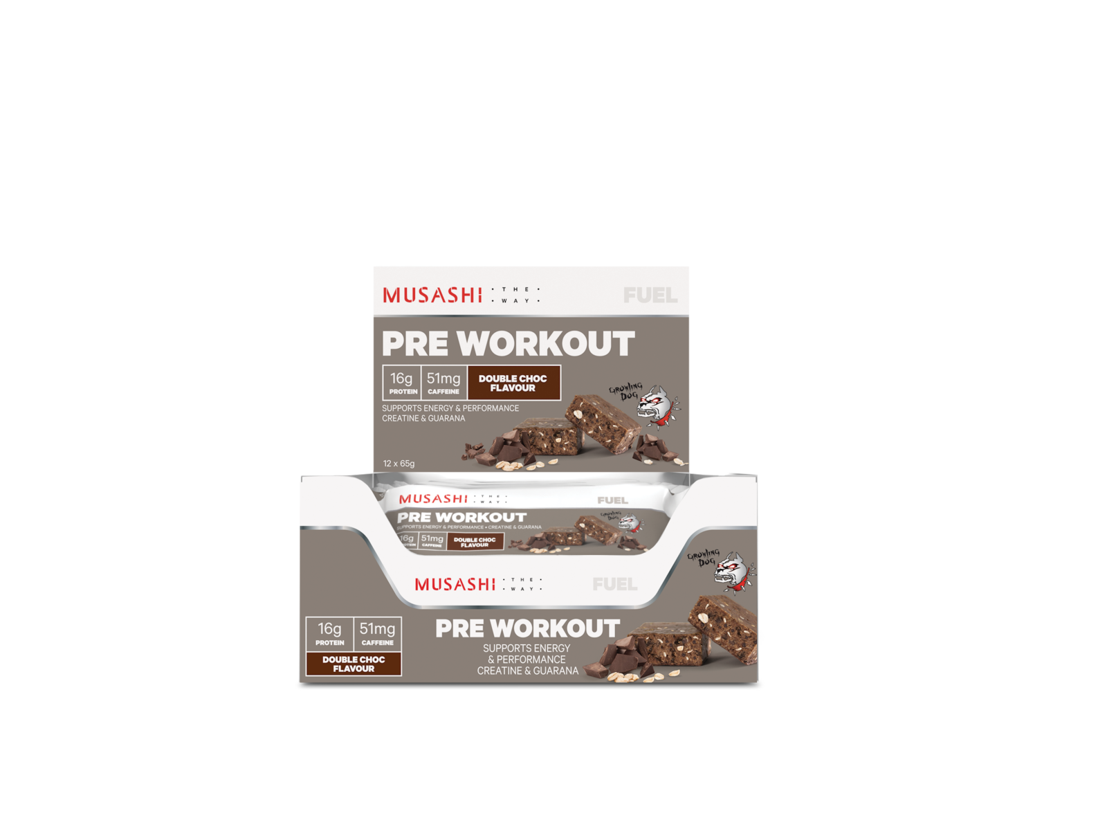 Musashi Pre-Workout Protein Bars - Double Chocolate (12 x 65g) image