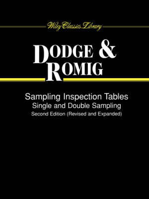 Sampling Inspection Tables by Harold F. Dodge image