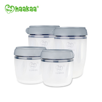 Haakaa: Silicone Breastmilk Storage Set - Gray (160/250ml)