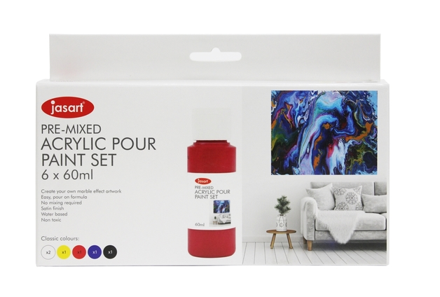 Jasart: Acrylic Pour Paint - 60ml/Set of 6
