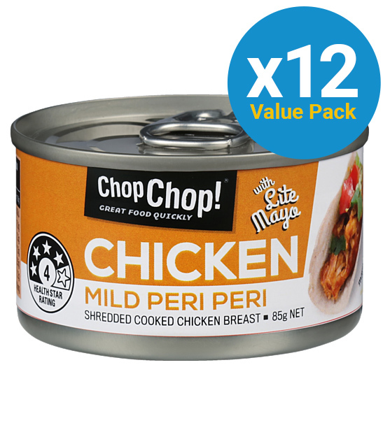 Chop Chop: Shredded Chicken - Mild Peri Peri with Lite Mayo 85g (12 Pack)
