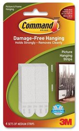 Command Medium Picture Hanging Strips - White (4 Pack) image