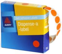 Avery Orange 14mm Diameter Circle Dispenser Labels Pkt1050