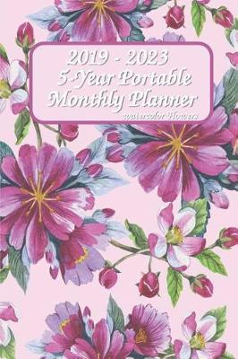 2019 - 2023 5-Year Portable Monthly Planner Watercolor Flowers 6x9 by Leader