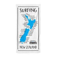 Moana Road: Beach Towel - NZ Map Surfing Towel