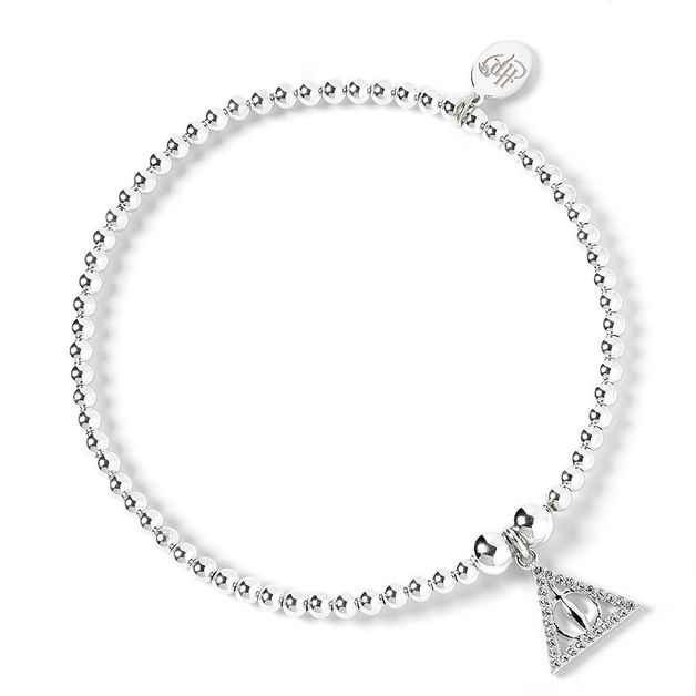 The Carat Shop: Sterling Silver Deathly Hallows Charm on Ball Bead Bracelet Embellished with Swarovski Crystals