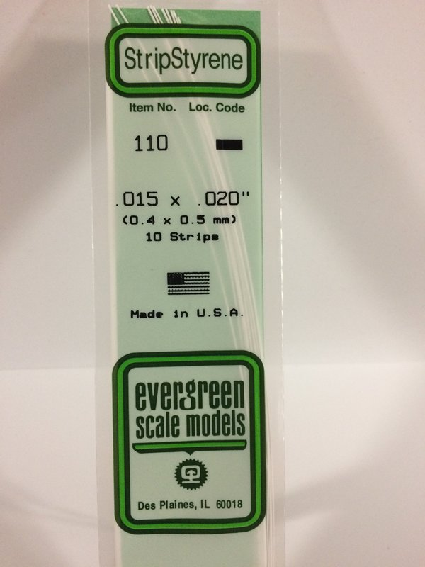 Evergreen Styrene Stripstyrene White.40X.50 mm (10)