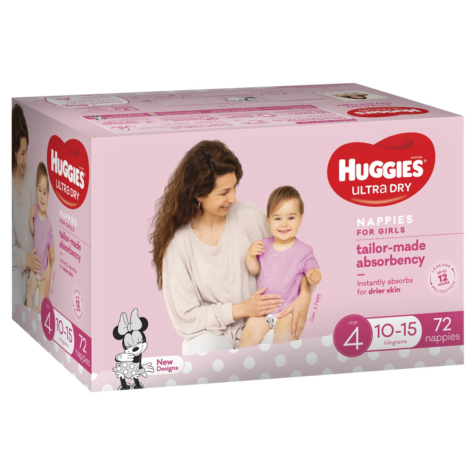 Huggies Ultra Dry Nappies Jumbo Pack - Size 4 Toddler Girl (72) image