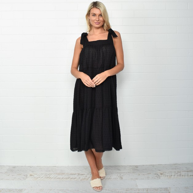 Adorne: Poppy Tiered Dress - Black (One Size)