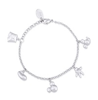 Disney Couture: Mickey Mouse Icon Charm Bracelet - White Gold