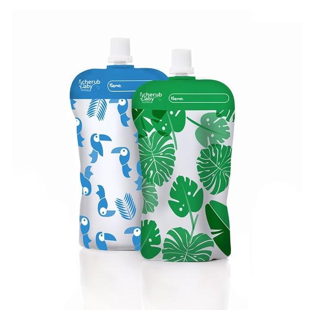 Cherub: Reuseable Food Storage Mini Pouches - Green/Blue