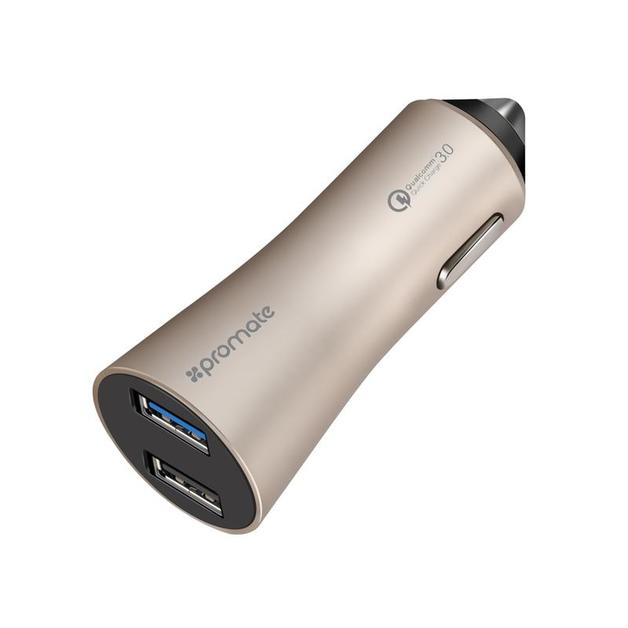 Promate Robust Car Charger with Qualcomm Quick Charge 3.0 Dual USB Port - Silver