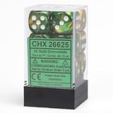 Chessex Gemini 16mm D6 Dice Block: Gold-Green/White