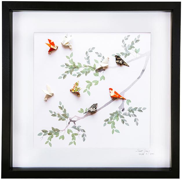 Short Story: Birds of Paradise Green - Large Frame (Black)