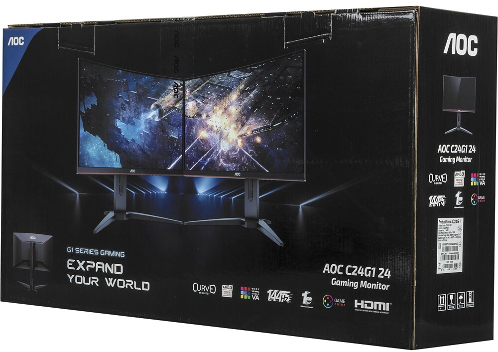 "23.6"" AOC C24G1 144Hz 1ms Curved FreeSync Gaming Monitor image"