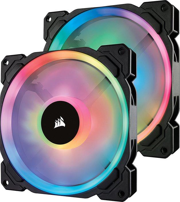Corsair LL Series LL140 RGB 140mm Dual Light Loop RGB LED PWM Fan — 2 Fan Pack With Lighting Node Pro Controller