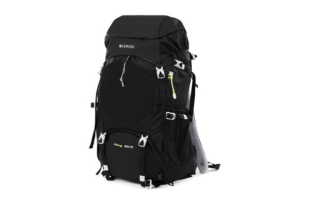 Komodo: 70L Extendable Hiking Backpack With Rain Cover (Black)