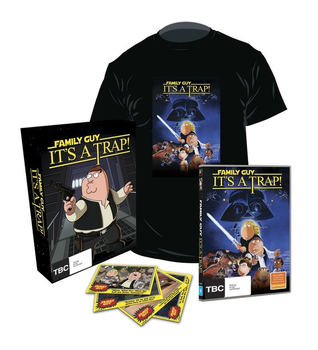Family Guy: It's a Trap! Gift Box with T-Shirt and Cards on DVD
