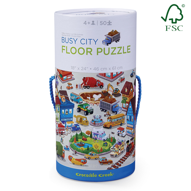 Crocodile Creek Canister Floor Puzzle Busy City 50pc