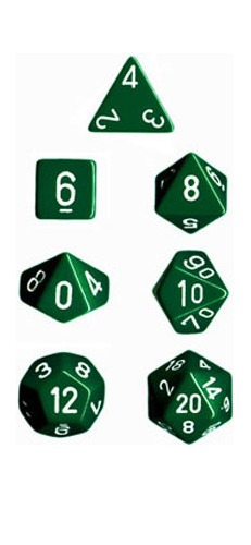 Chessex Opaque Polyhedral Dice Set - Green/White image