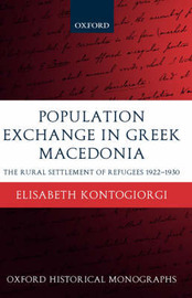 Population Exchange in Greek Macedonia by Elisabeth Kontogiorgi