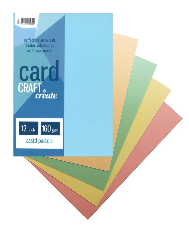 Craft & Create A4 160gsm Card - Assorted Pastels (12 Pack)