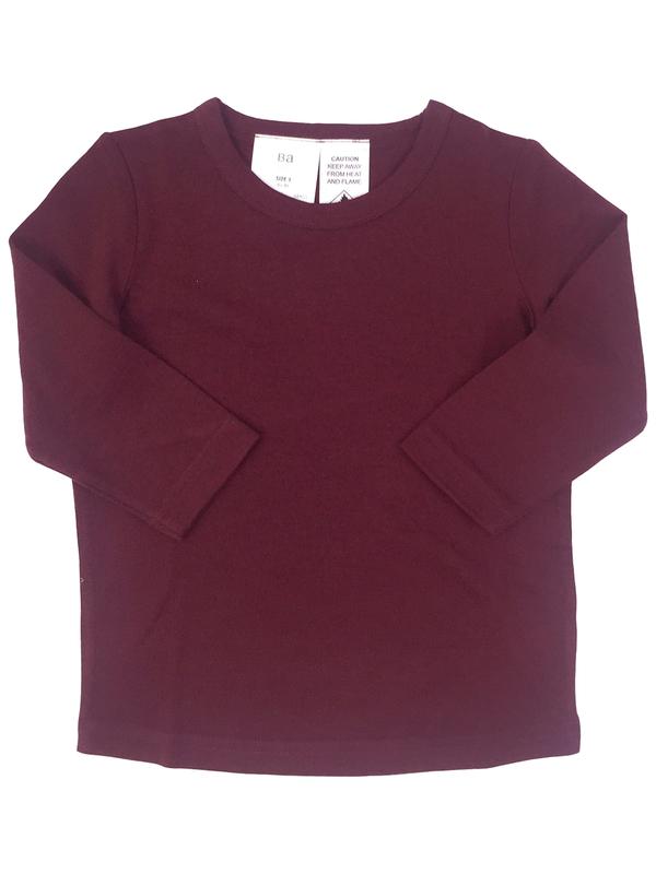Babu: Merino Crew Neck Long Sleeve T-Shirt - Burgundy (2 Years)