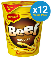 Maggi 2 Minute Cup Noodles - Beef 58g (12 Pack)