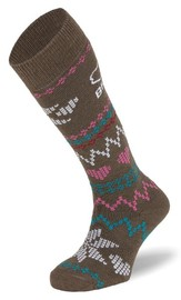 BRBL: Alaska Womens Brown Ski Socks (Medium)