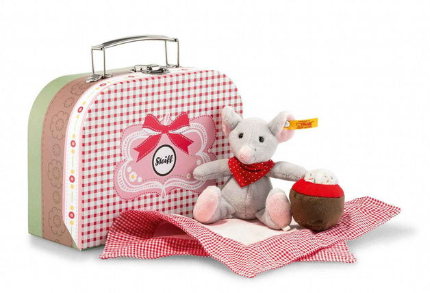 Steiff: Picnic Friends Mr. Little Mouse in Suitcase - Grey/Multicoloured