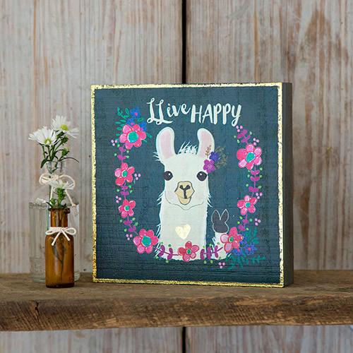 Natural Life: Bungalow Box Sign - Llama Live Happy