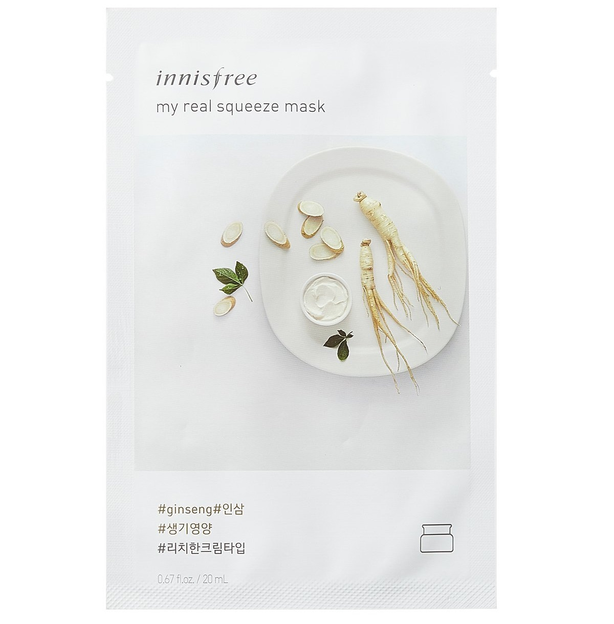 Innisfree - My Real Squeeze Sheet Mask - Ginseng (20ml) image