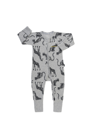 Bonds Ribby Zippy Wondersuit - Animal Party New Grey Marle (0-3 Months)