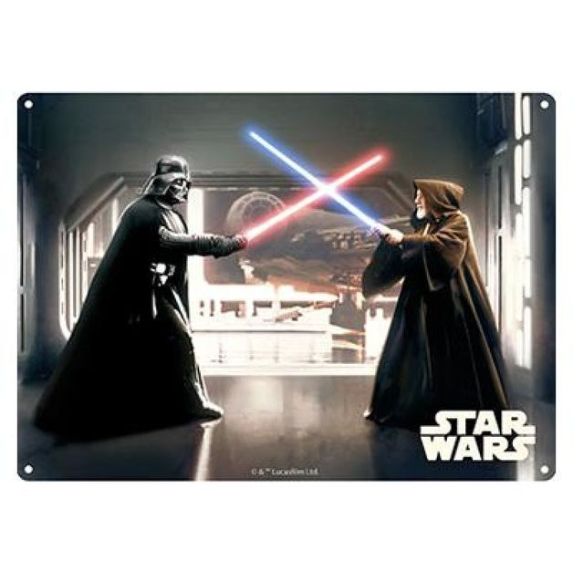 Star Wars: Metal Sign - Darth Vader And Obi Wan Fight