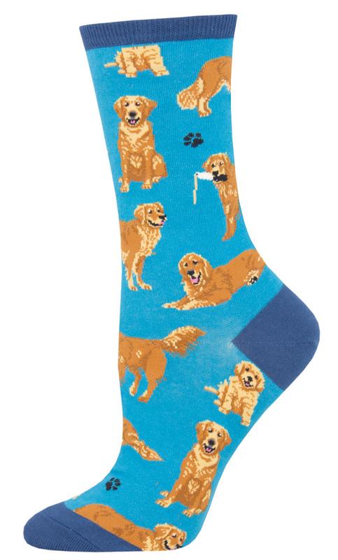 Socksmith: Womens Golden Retrievers - Blue