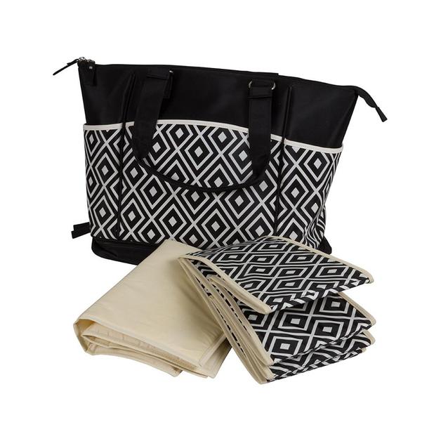 Childcare: Nappy Bag Bottom Zip - Black Diamond