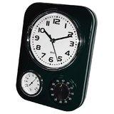 Retro Kitchen Clock & Timer - Black