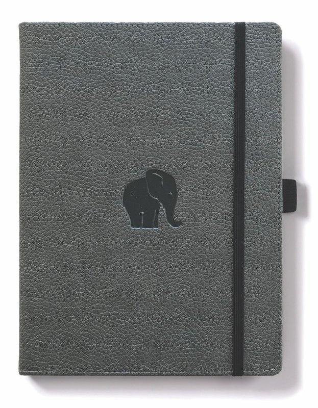 Dingbats Wildlife: A4 Grey Elephant Notebook - Dotted