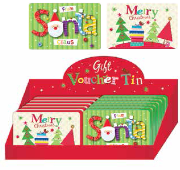 Christmas Gift Voucher Tin (Assorted)