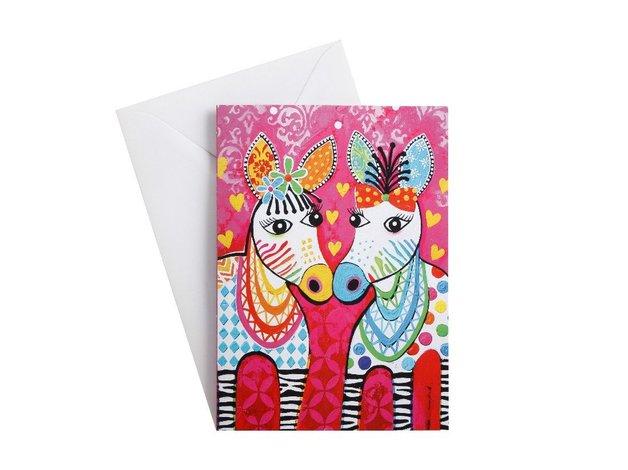 Maxwell & Williams: Love Hearts Greeting Card - Zig Zag Zebras
