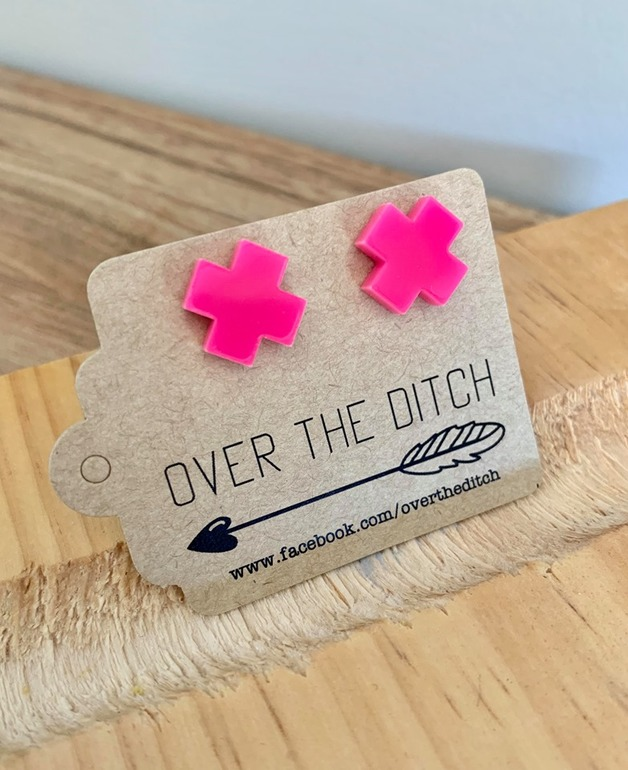 Over the Ditch: Dome Earrings - Pink Crosses