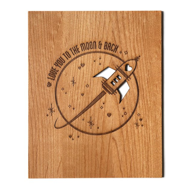 Cardtorial Wooden Print - Love You To The Moon & Back