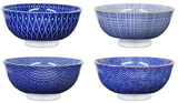 Cobalt Blue Village Kiln Ceramic Bowls - Set of 4