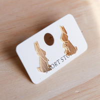 Short Story: Funky Play Earrings - Gold Mr Rabbit