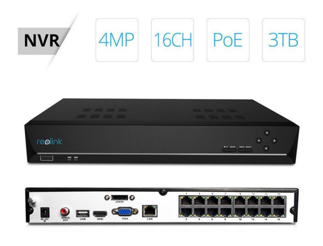 Reolink 16ch 5MP PoE NVR, Support 16 reolink PoE cameras