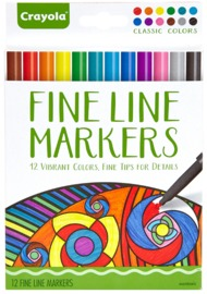 Crayola Colour Escapes: Classic Fine Line Markers - 12 Pack