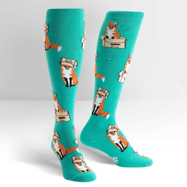 Women's - Foxes In Boxes Knee High Socks