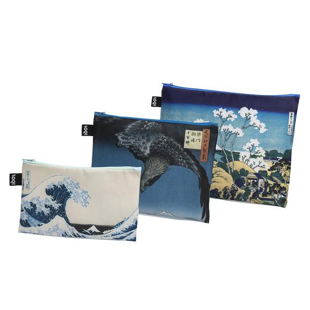LOQI: Zip Pocket Museum Collection - Hokusai (Set of 3)