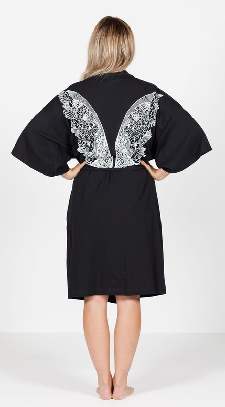 The Goodnight Society: Robe - Black With White Wing Print