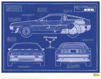 Back to the Future: Premium Art Print - Delorean Plans